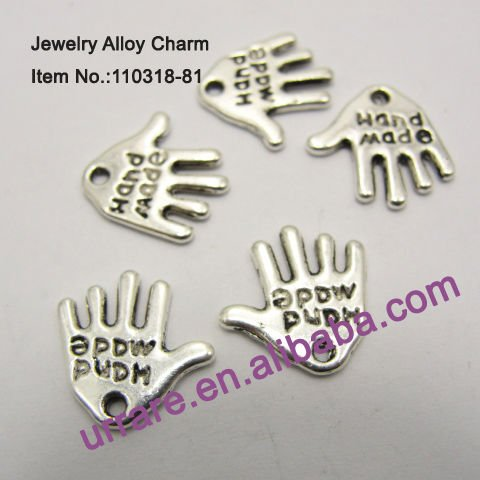 Antic Silver Little Hand Shape Jewelry Alloy Charm