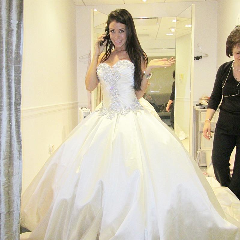 Fa92 Ball Gown Taffeta Wedding Dress With Beading Crystal Chapel ...