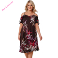 Floral Cold Shoulder alibaba Sexy Plus Size Dresses for Women