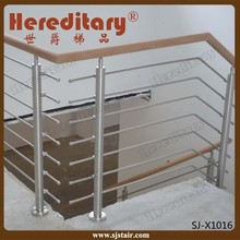 wood handrail decorative stainless steel horizontal bar pipe rod railing for staircase/deck/balcony