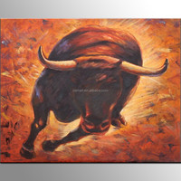 Free Shipping High Quality Handmade Abstract Bull Oil Painting on Canvas Strong Bull Oil Painting for Living Room Decoration