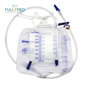 Two chamber Urine meter bag urine drainage collection T valve needless sampling port 2600ml+400ml