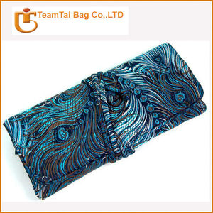 custom vintage silk cotton jewelry roll/ chinese jewelry bag organizer