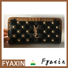 Custom Embroidered Leather Long Women Wallet with Zipper