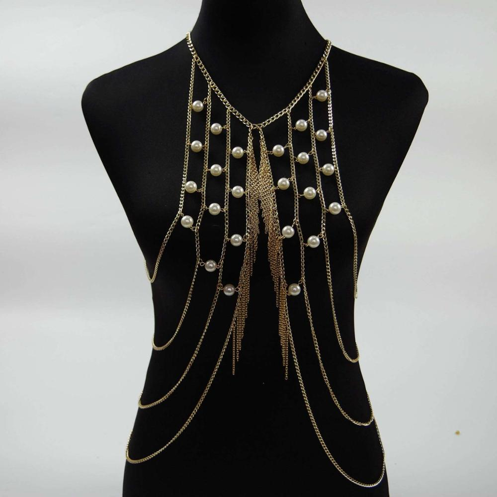 jewelry pearl multilayer comple sey body chain necklace wholesale