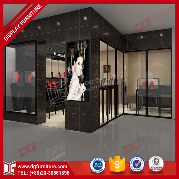 Modern Acrylic Wooden Display Cabinet Jewelry Showroon Design