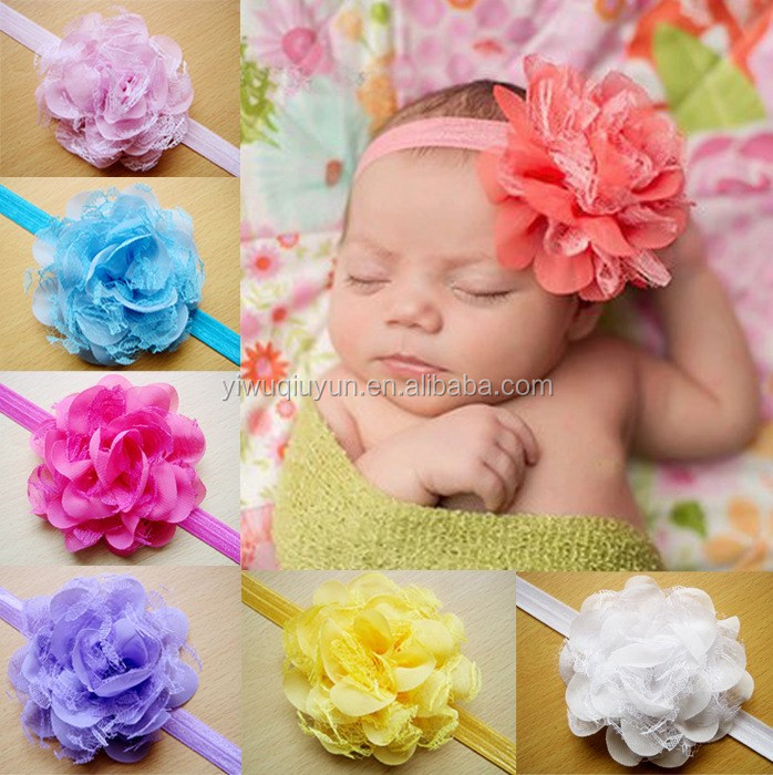 China yiwu factory direct sale cheap hair accessories 10 colors messy flower headbands for kids baby photo props