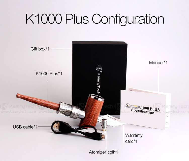 Huge vaping e-pipe e cigarette kit Kamry K1000 plus epipe with 0.5ohm sub ohm atomizer tank