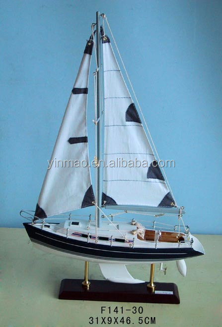 Famous Wooden Yacht Model, 2 sets Blue31x9x47cm, Sailboat replic model