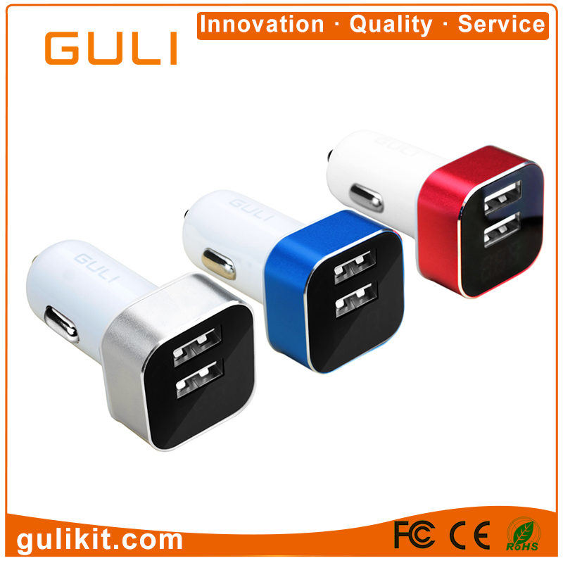 Alibaba China Market Best Selling Items Dual Usb Car Charger 5V 2.4A Voltage Display Mobile Phone Accessories