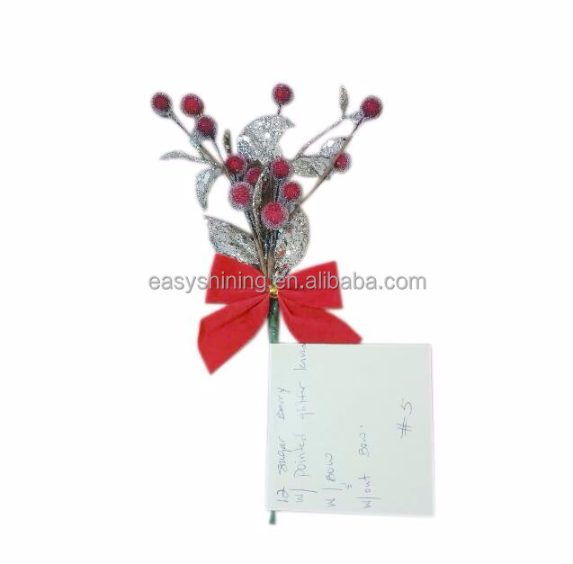 Artificial Glitter Christmas Decoration Pick and Spray With bow For Wreath Making ESH0018