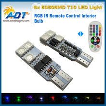 T10 W5W 5050 6SMD RGB LED Multi Color Light Car Wedge Side Bulbs with Remote Control