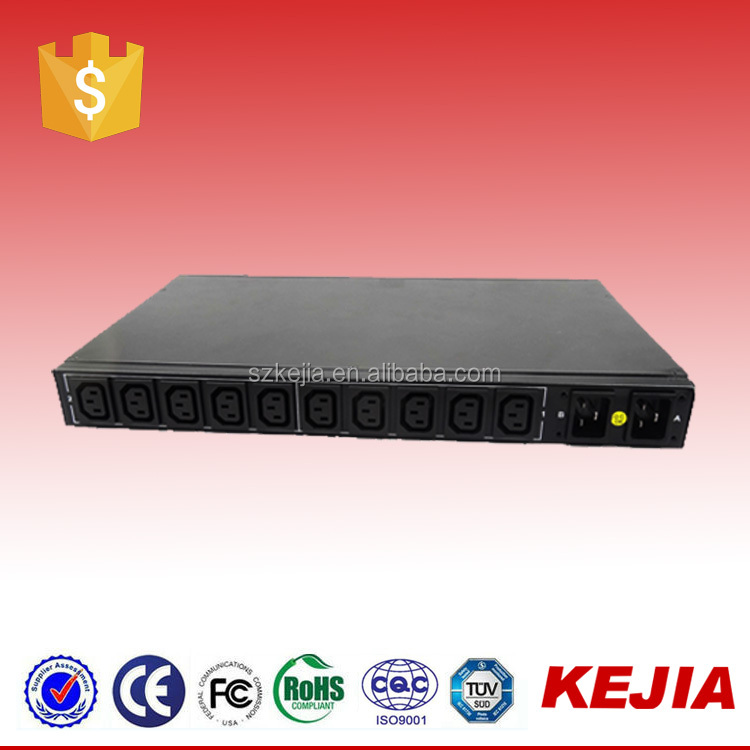 16A/250V 10 Ways IEC C13 Automatic Transfer Switched ATS PDUs/Dual Input PDU