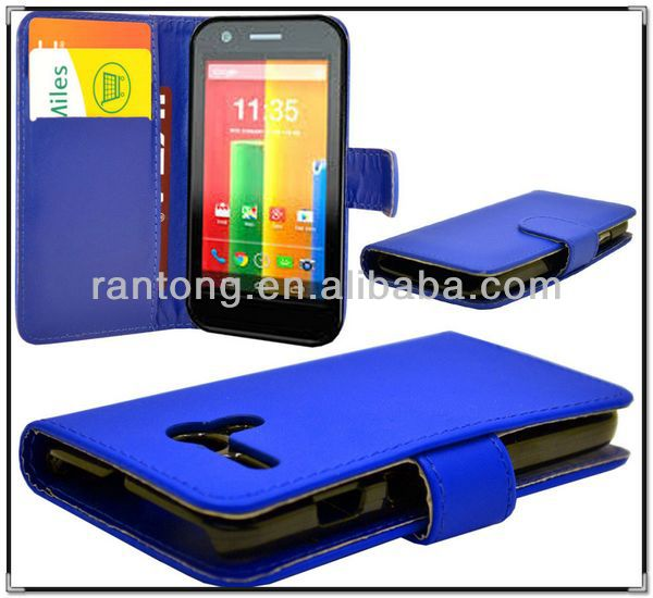 2014 new products on market wholesale Leather Case for Moto G Flip Case