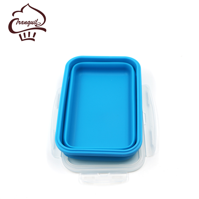 2017 Hot Selling Square 1200ml Silicone foldable Office Lunch Box