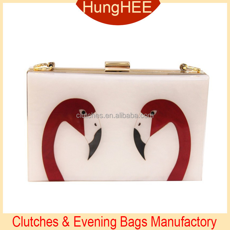 Personalized women's evening bag Flamingo Printing acrylic clutch HH-AC1612