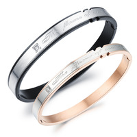TRYME Casual Stainless Steel Couple Bangles Fashion Sporty AAA+ Cubic Zirconia Women Men Jewelry Best Gift Charms GH788