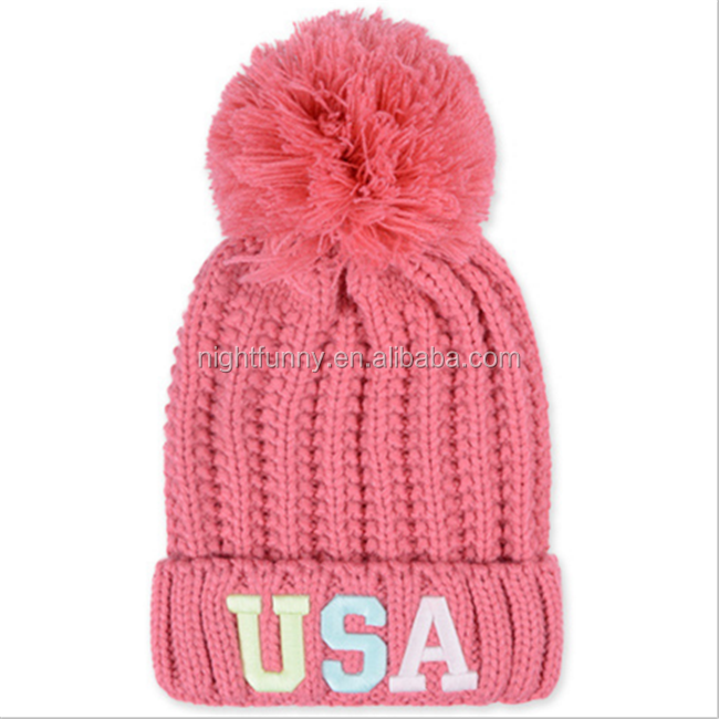women Knit Beanie Ball Warm Ski Cuff Hat New Fashion Winter Wool hats
