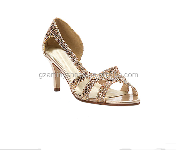 2015 New model european fashion gold sexy middle heels evening shoes ladies peep toe sequin dress shoes