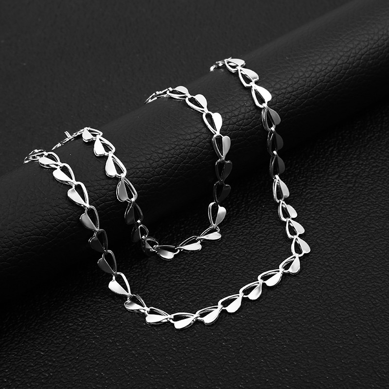 Top Sale Silver Stainless Steel Heart Shaped Women Choker Necklace