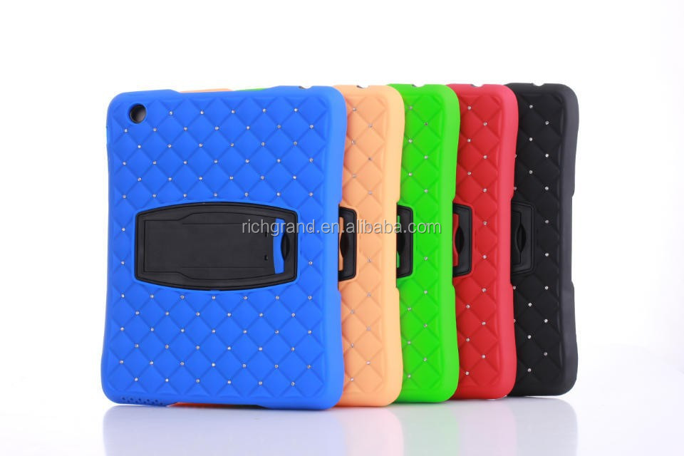 For ipad 2 3 4 high quality shockwave diamond shockproof dustproof cover case with stand