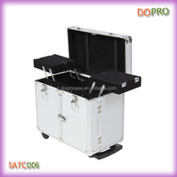 Silver Aluminum Hair Stylist Tool Case Trolley Hairdressing Case