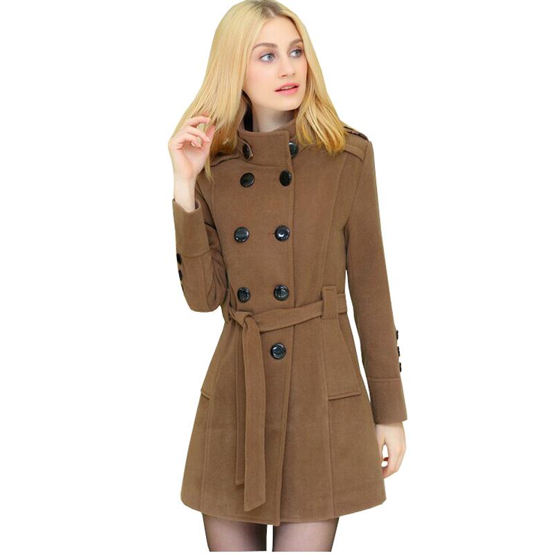 Yealsha Womens Winter Long Wool Trench Coat Patchwork Jacket Fashion Leather Coats