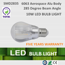 LED bulb light 10W, LED Bulbs ,285 degree beam angle,with CE certificate and five years warranty