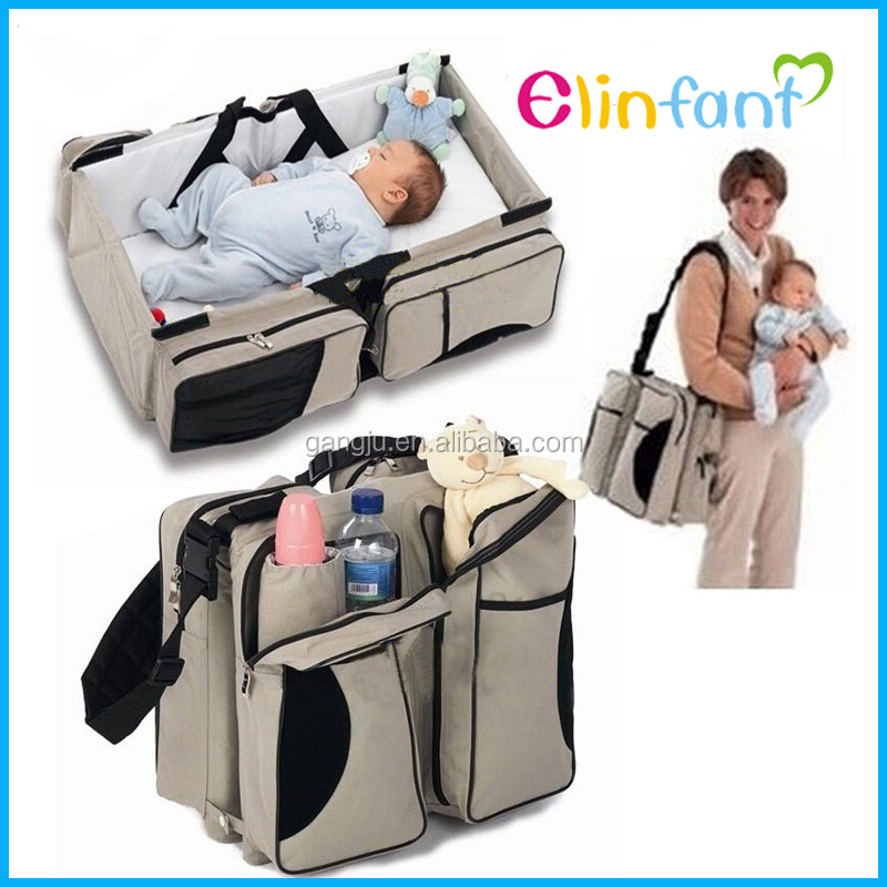 New design 4 in 1 travel baby foldable diaper bag baby bed diaper cloth bag