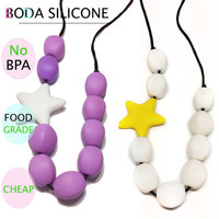 Star Beads Necklace Baby Teething Necklace/silicone Teething Necklace For Baby
