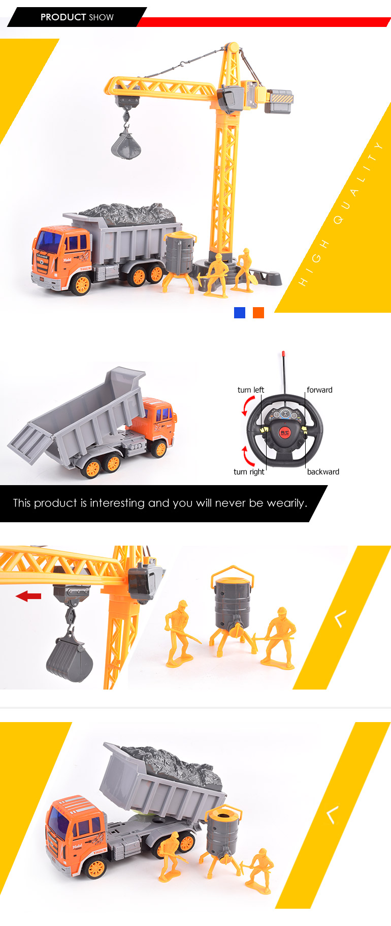 shantou factory rc construction set 4ch dumper truck toys model for sale