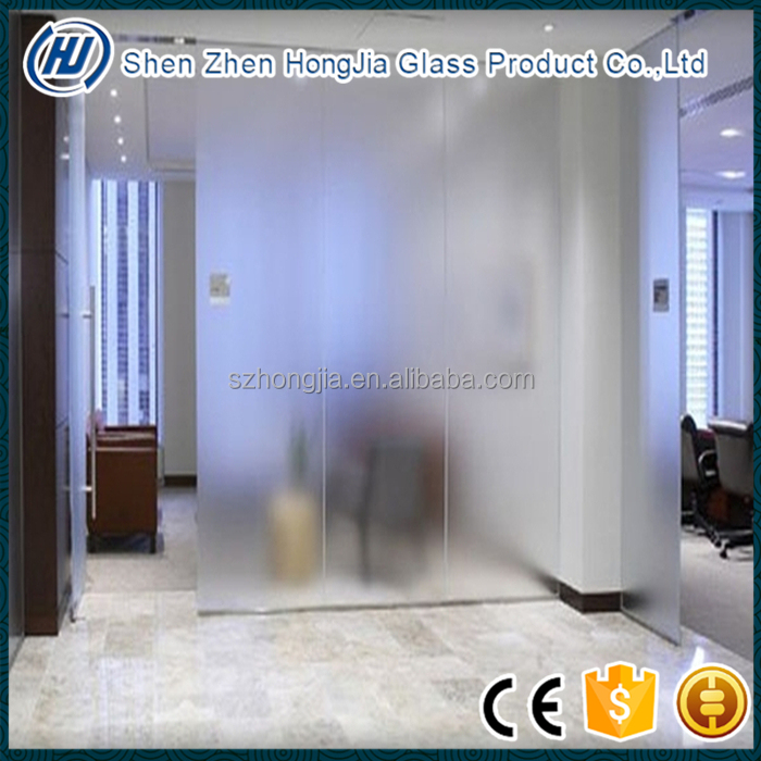 Frosted glass acid etched pattern glass for partition glass