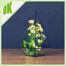Manufacturer beautiful hanging glass decoration flower pot // Antique indoor large garden metal plant flower pot frame
