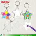 2017 new style wholesale clear star shape acrylic photo key chain