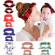 2PC/Set Mom Kid Rabbit Ears <strong>Hair</strong> Bands Tie Bow Headband <strong>Hair</strong> Knot Bow Cotton Headbands <strong>Hair</strong> <strong>Accessories</strong> For Women
