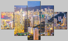 luxury home decor cityscape light up led canvas painting 5 piece wall art