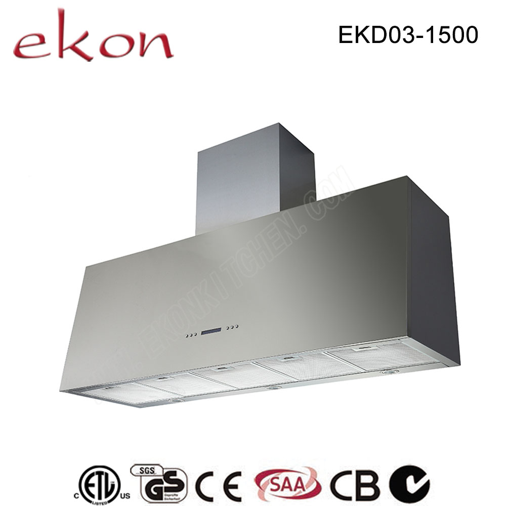 CE CB GS SAA Approved Tower Stainless Steel Canopy Sensor Touch Control 2000m3/hr BBQ 1500mm 2 Motors In Big Suction Range Hood