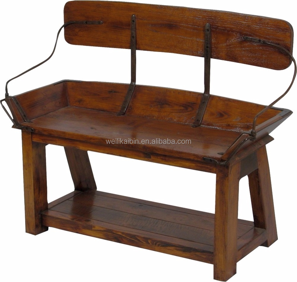 Solid wood buckboard seat vintage wooden bench solid wood antique bench