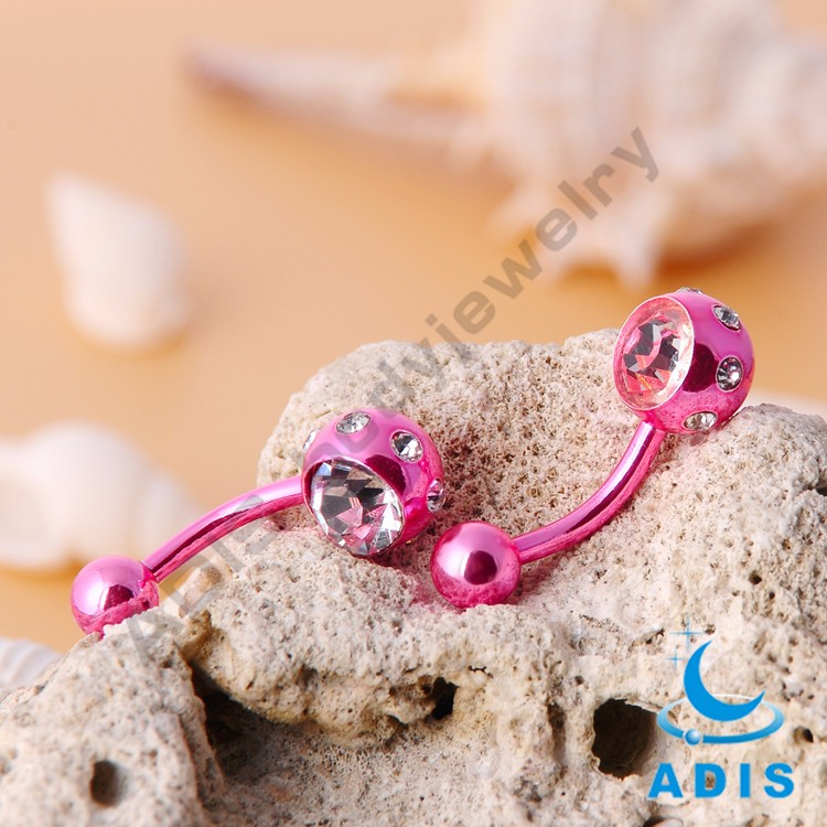New design surgical steel anodized double jeweled body piercing jewelry belly button ring