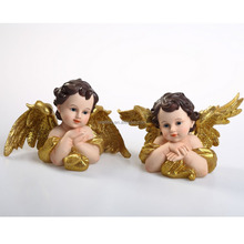New Design Resin Christmas Angel, Handmade Baby Angel With Gold Wings