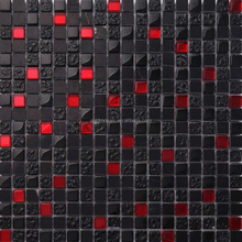 JTC-1322 Red and Black Iridescent Crystal Glass Mosaic Tiles of Plating Cracked Glass for Export