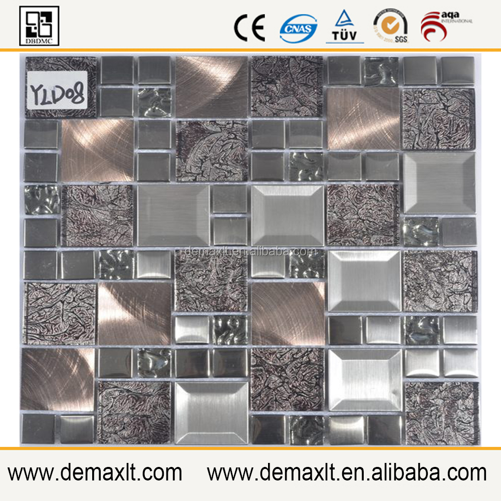 Durable silver mirror crystal glass mosaic tile