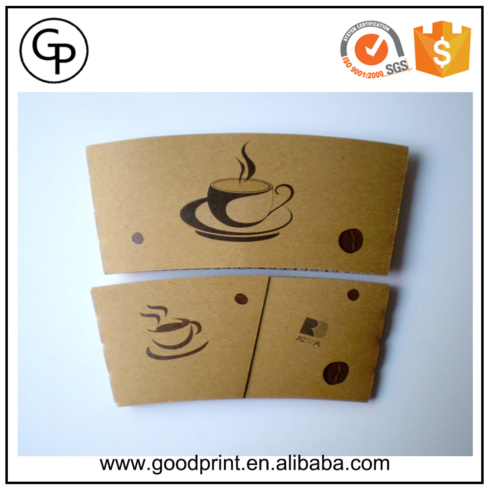 Hot sale black disposable printed paper card coffee cup sleeve