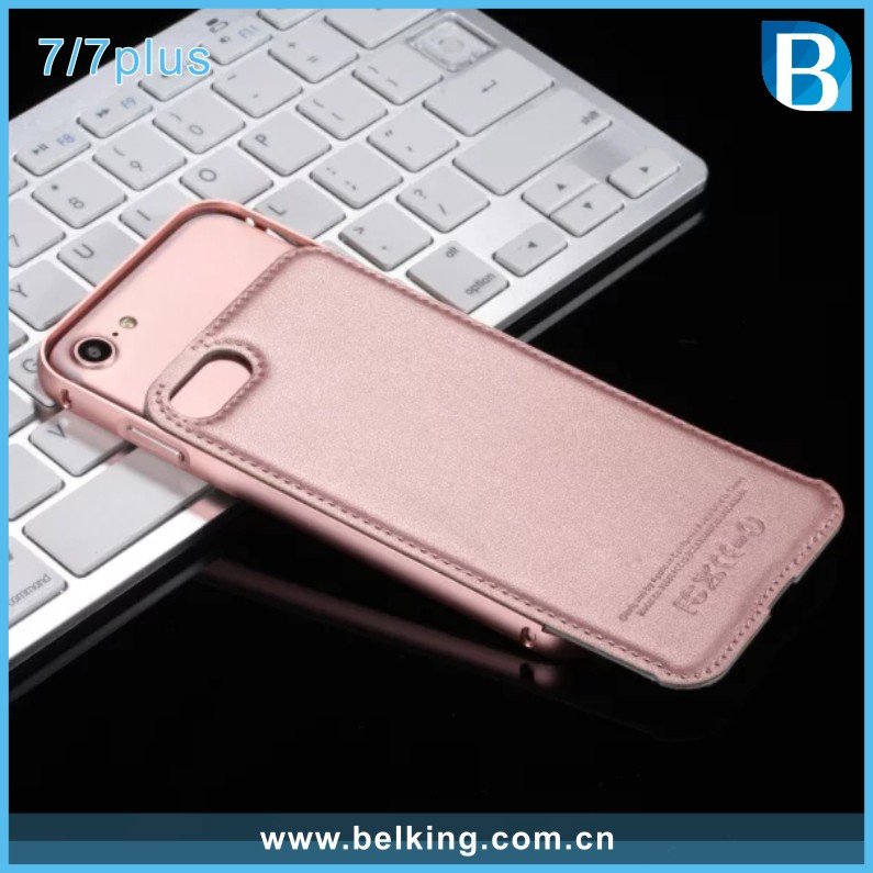 Aluminum Bumper For iPhone 7 Leather Back Case, Hybrid Case For iPhone 7