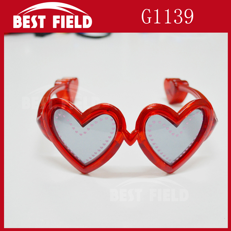 Red color valentine's day heart shape led glasses