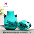 New glass vase with round bottom ,stained blue glass vase for home decoration
