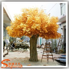 2016 fiber glass large artificial decorative tree gold artificial wedding wishing tree