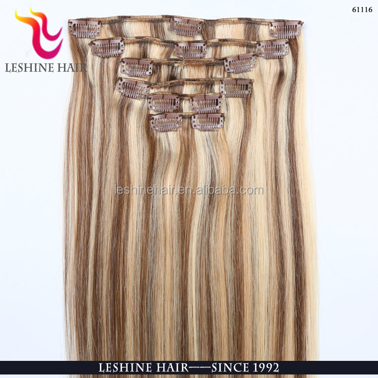 wholesales brazilian virgin human clip in remy human hair 150g remy clip in hair extension