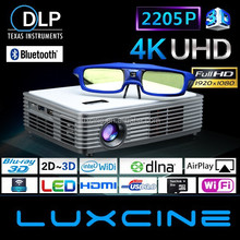 4K Android4.4 2205P Blu-ray 3D Home Theater Projector Z3000 With Keystone Dual Band WiFi and Google Play H.265 Format Supported