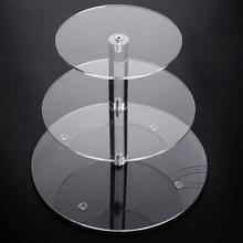 Weitu brand acrylic 3 tier clear acrylic rotating wedding cake stand